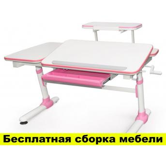 Стол Evo-kids Darwin Pink с полкой (арт.Evo-502 P+полка Evo-513) - столешница белая / вставки розовые