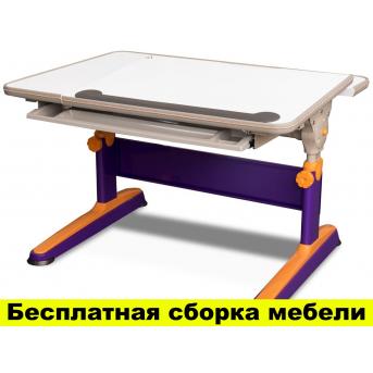 Стол Mealux Santiago Orange-Purple (арт.BD-315 MC/OR) - столешница белая / цвет пластика оранжевый с фиолетовым