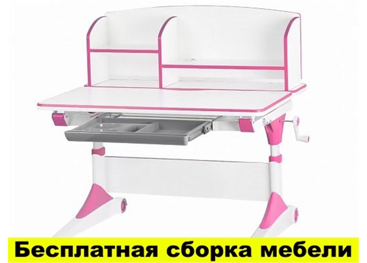 Cтол Evo-Kids Alberto (с полкой) 1000 Розовый