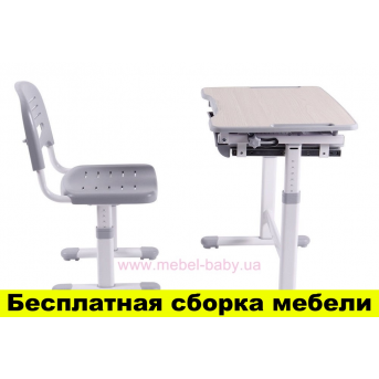 Комплект FunDesk Парта и стул-трансформеры PICCOLINO GREY