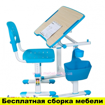 Комплект FunDesk Парта и стул-трансформеры PICCOLINO ІІ BLUE