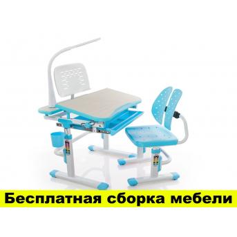 Комплект Evo-kids (стул+стол+полка+лампа) Evo-05 BL с лампой - столешница клен / цвет пластика голубой