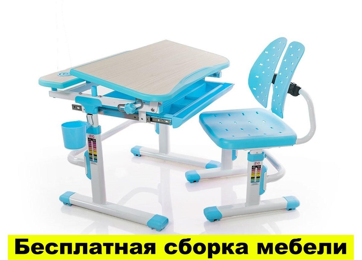 Комплект Evo-kids (стул+стол) Evo-05 BL - столешница клен / цвет пластика голубой