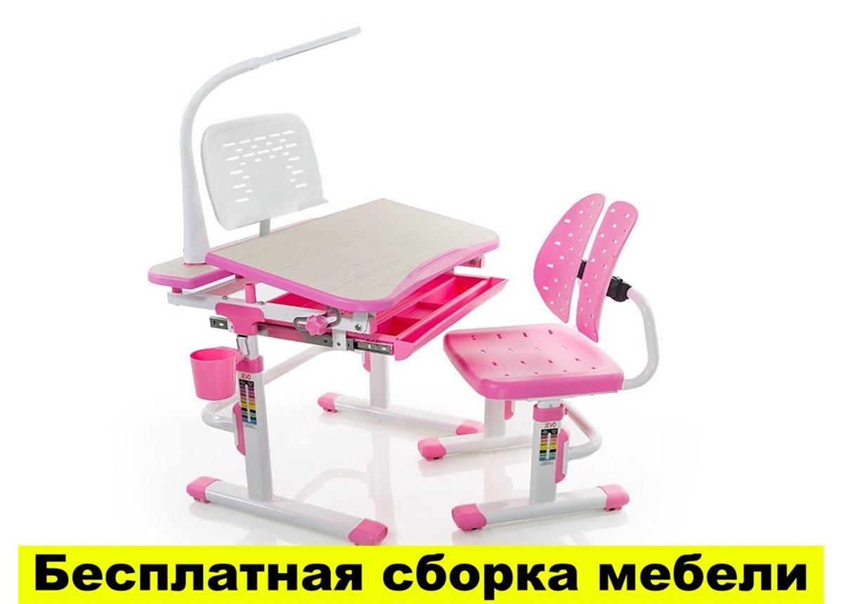 Комплект Evo-kids (стул+стол+полка+лампа) Evo-05 PN с лампой - столешница клен / цвет пластика розовый