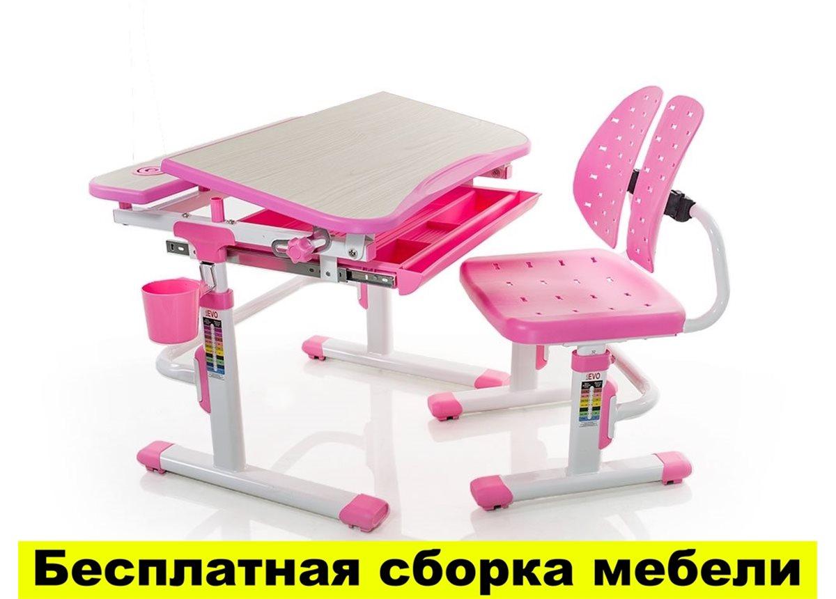Комплект Evo-kids (стул+стол) Evo-05 PN - столешница клен / цвет пластика розовый