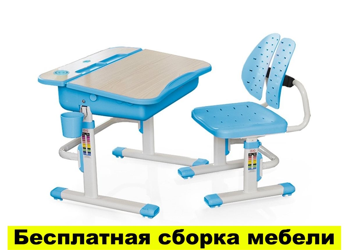 Комплект Evo-kids (стул+стол) Evo-03 BL - столешница клен / цвет пластика голубой
