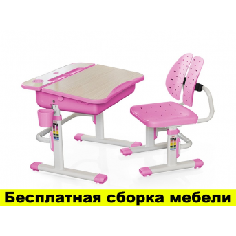 Комплект Evo-kids (стул+стол) Evo-03 PN - столешница клен / цвет пластика розовый
