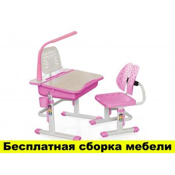 Комплект Evo-kids (стул+стол+полка+лампа) Evo-03 PN с лампой - столешница клен / цвет пластика розовый