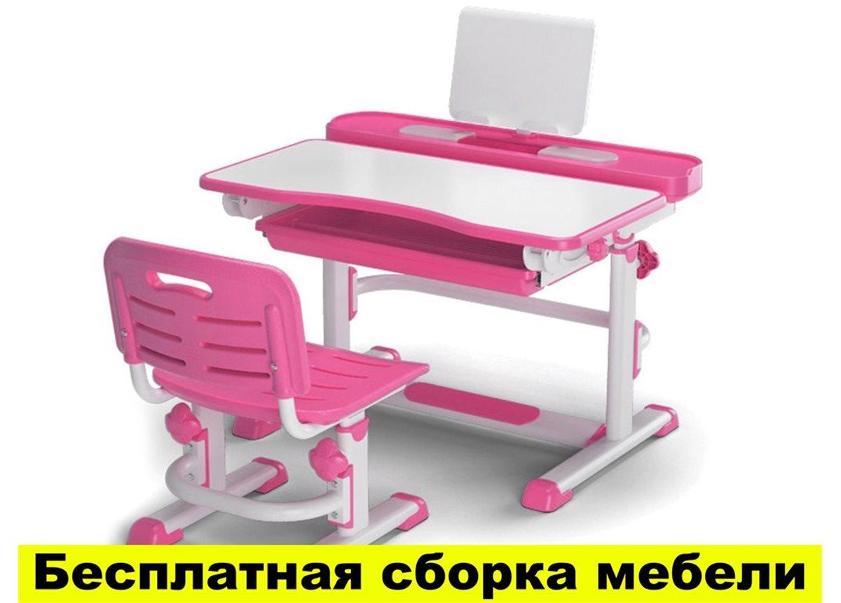 Комплект Evo-kids (стул+стол+полка) BD-04 P New  Pink - столешница белая