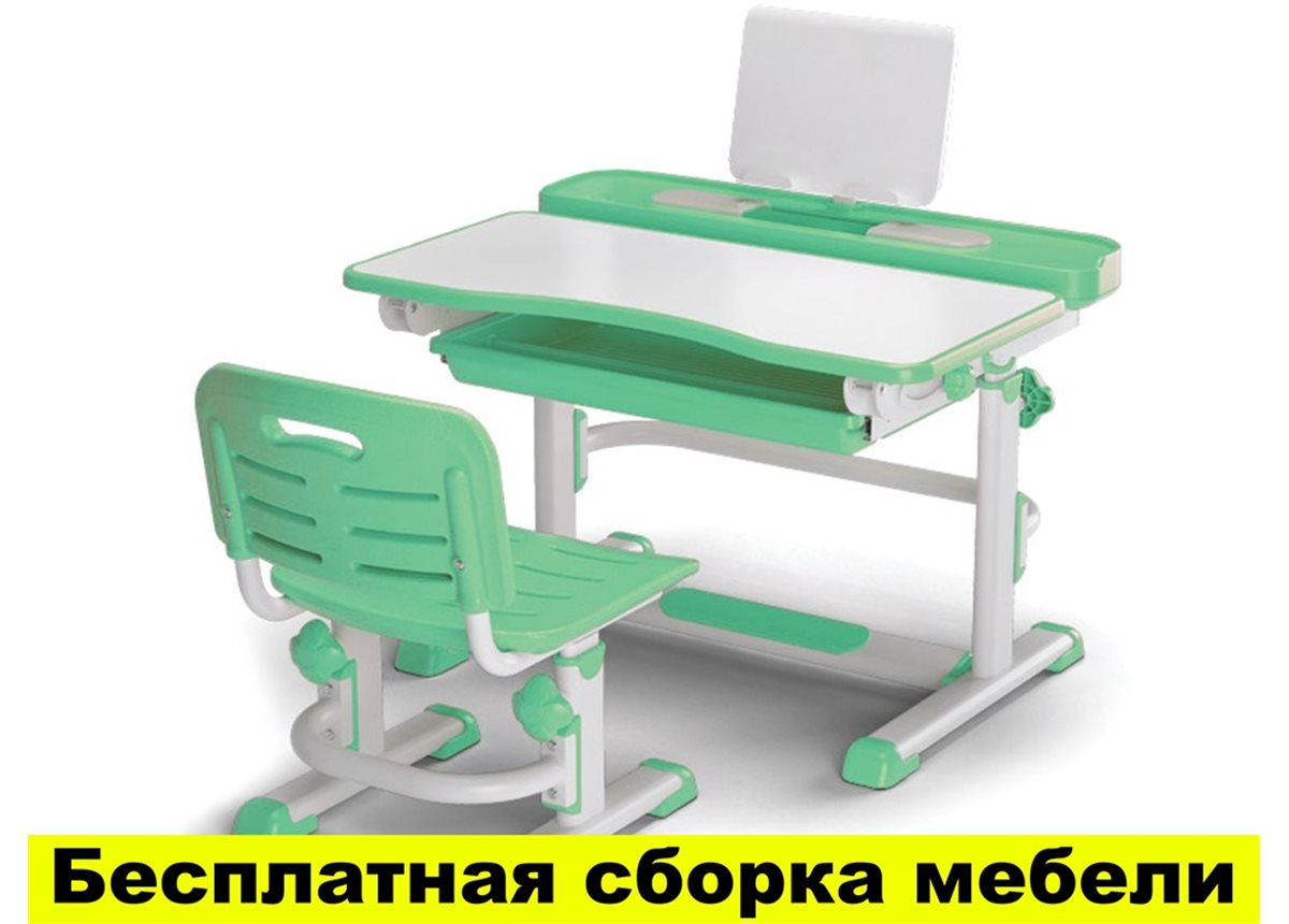 Комплект Evo-kids (стул+стол+полка) BD-04 Z New  Green - столешница белая