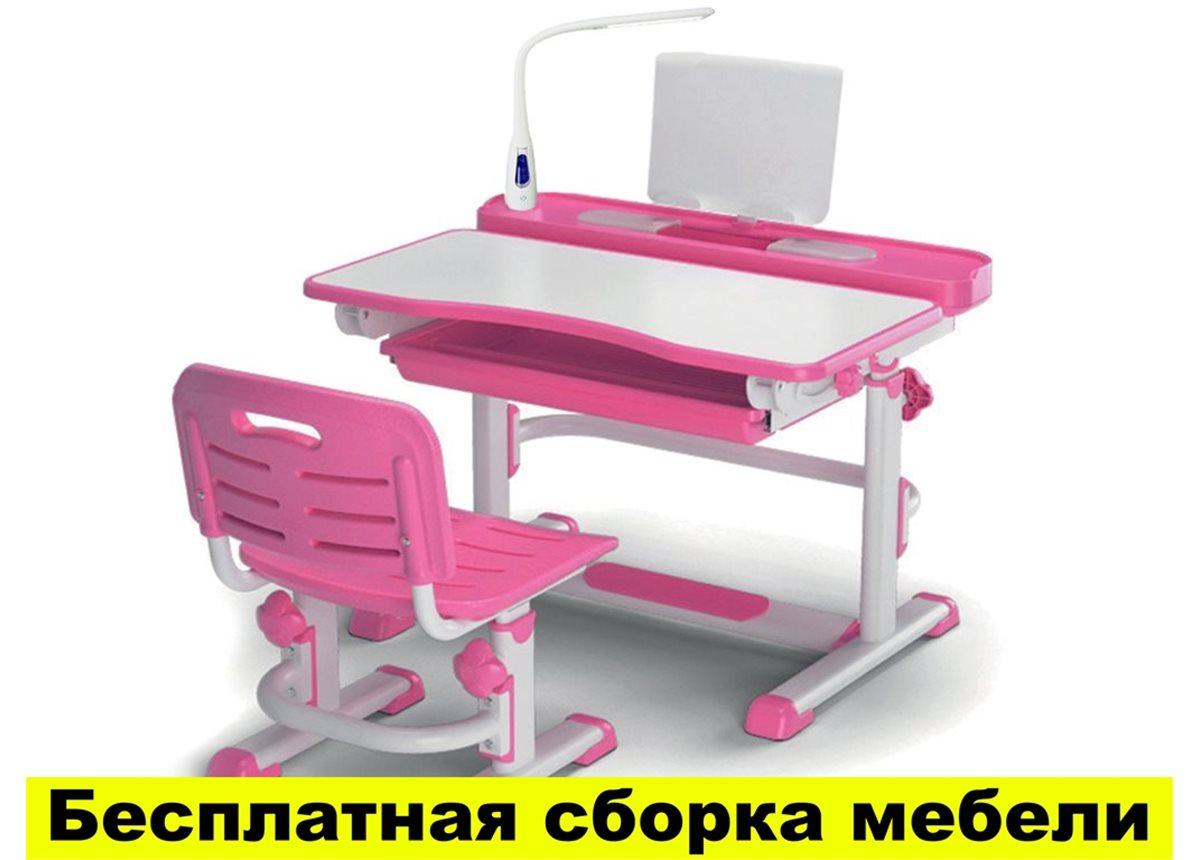 Комплект Evo-kids (стул+стол+полка) BD-04 P New (XL) Pink с лампой - столешница белая