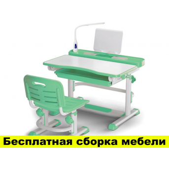 Комплект Evo-kids (стул+стол+полка) BD-04 Z New (XL) Green с лампой - столешница белая