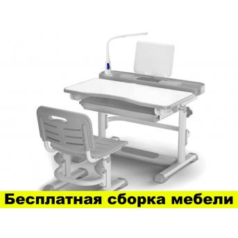 Комплект Evo-kids (стул+стол+полка) BD-04 G New (XL) Grey с лампой - столешница белая