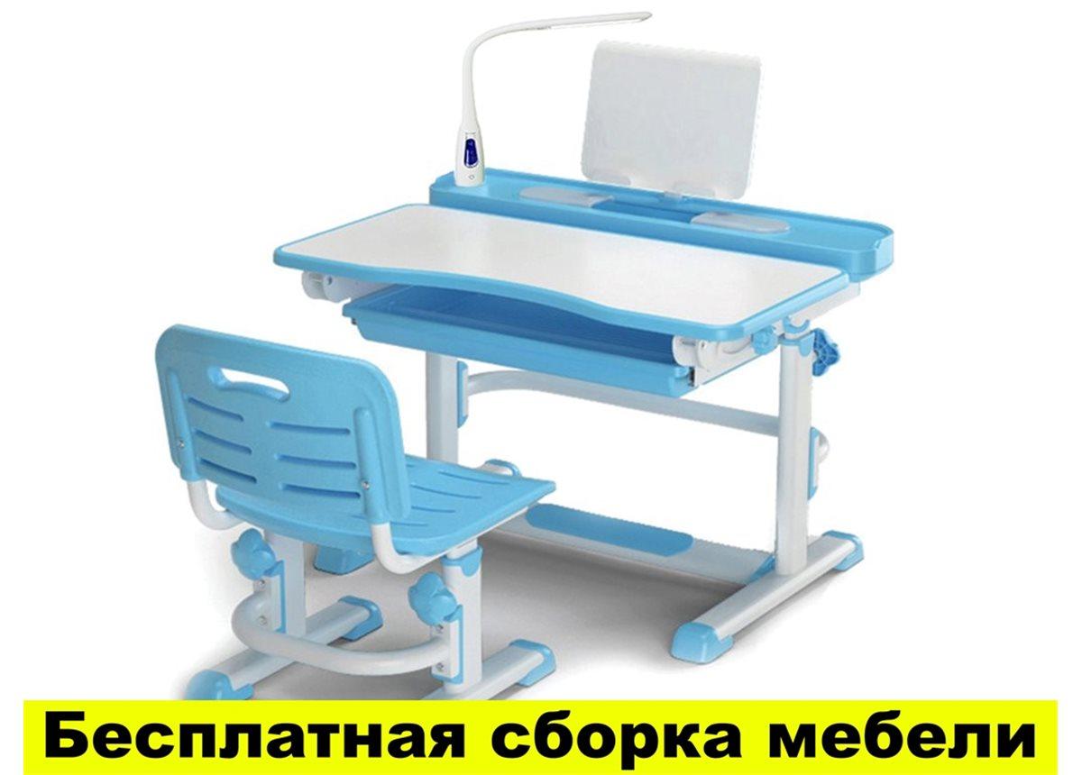 Комплект Evo-kids (стул+стол+полка) BD-04 B New (XL) Blue с лампой - столешница белая