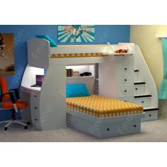 Кровать-чердак со столом двухместная Оксфорд Fmebel