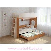 Кровать чердак трехместная WoodMart КЧТ 102 Бежевый + Коричневый