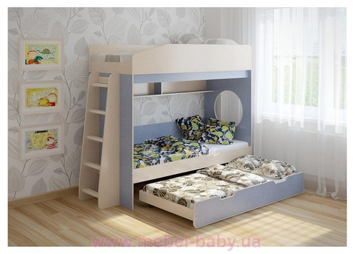 Кровать чердак трехместная WoodMart КЧТ 102 Голубой + Бежевый