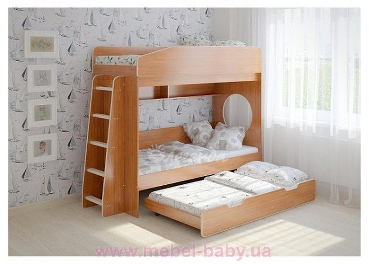 Кровать чердак трехместная WoodMart КЧТ 102 Коричневый