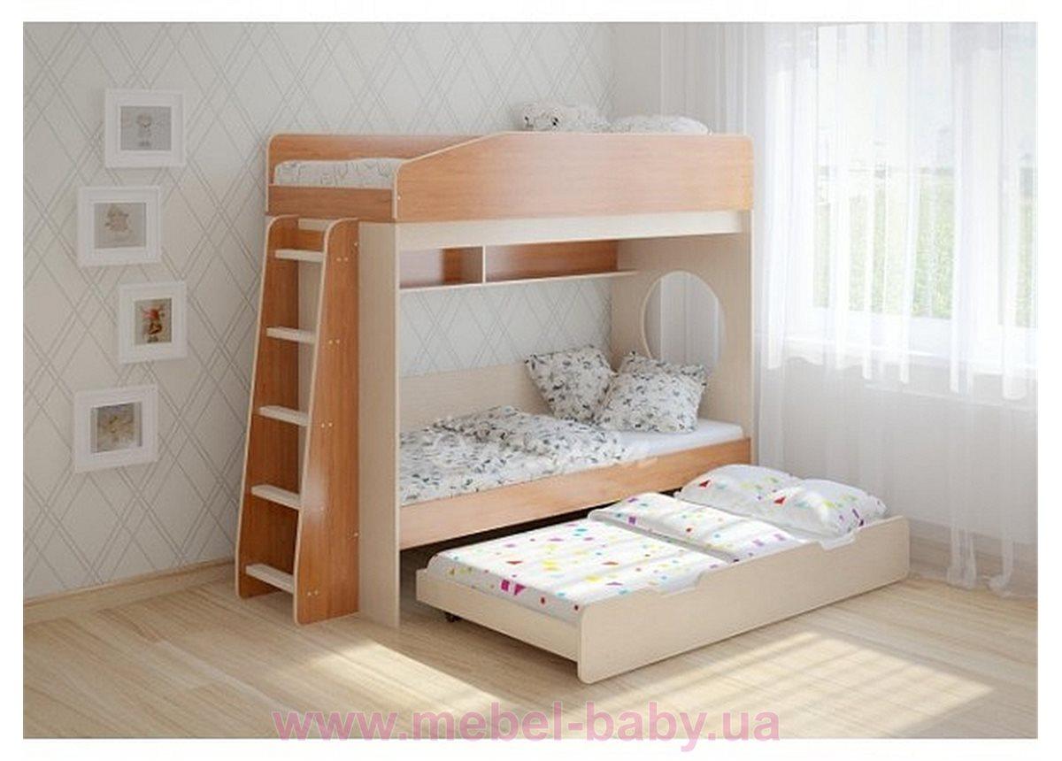 Кровать чердак трехместная WoodMart КЧТ 102 Коричневый + Бежевый