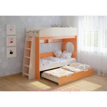 Кровать чердак трехместная WoodMart КЧТ 102 Оранжевый + Бежевый