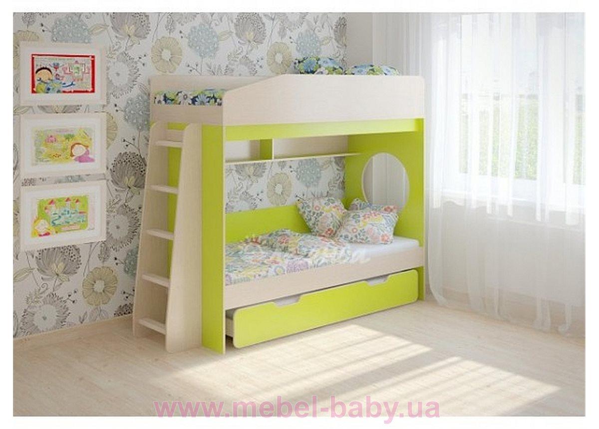Кровать чердак трехместная WoodMart КЧТ 102 Салатовый + Бежевый