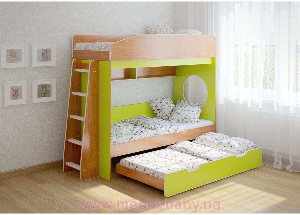 Кровать чердак трехместная WoodMart КЧТ 102 Салатовый + Коричневый