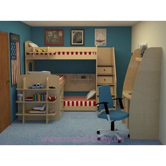 Кровать чердак трехместная WoodMart КЧТ 106 Берёза