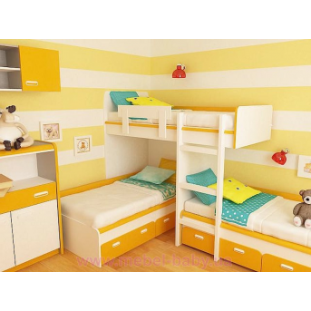 Кровать чердак трехместная WoodMart КЧТ 109 Оранжевый + Белый