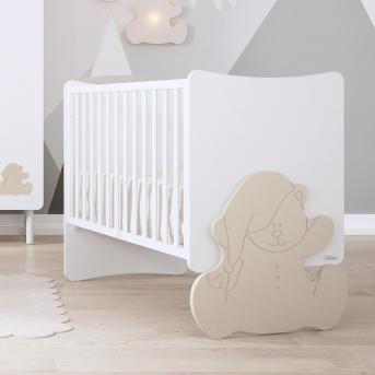 Не качающаяся кроватка для новорожденных Kuma 60x120 Trama Matt White/Light Earth