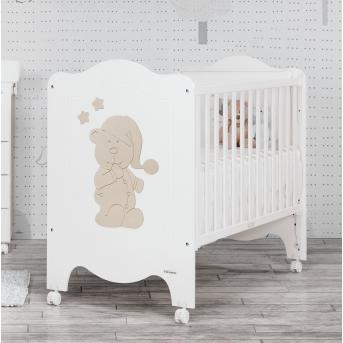 Не качающаяся кроватка для новорожденных Sleepy Bear 60x120 Trama White/Light Earth