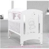 Не качающаяся кроватка для новорожденных Star Bear 60x120 Trama White/Grey Serigraphy