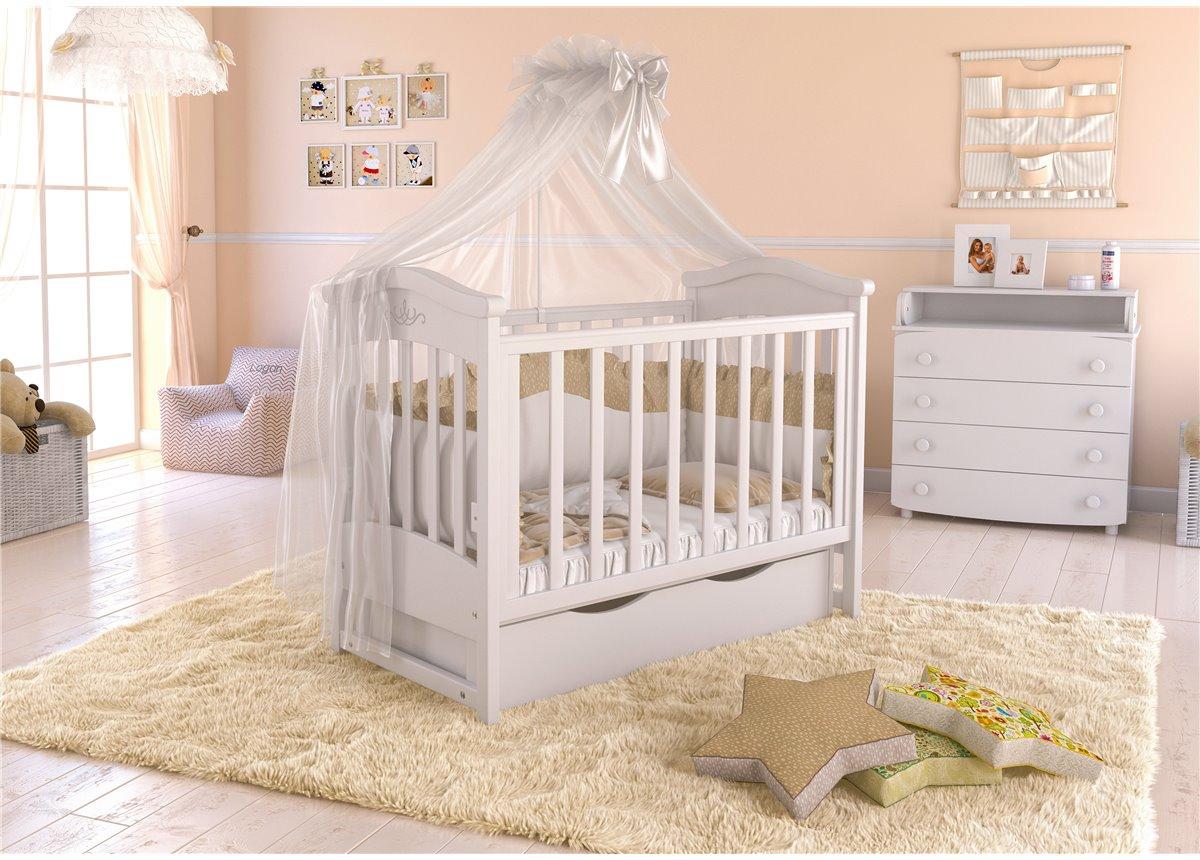 Кроватка детская LUX4 накладка Angelo 1200x600 крем