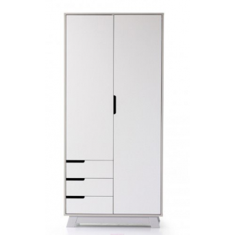 Шкаф 850 Манхэттен (с ящиками) Верес Бело-серый