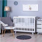 Кроватка детская Manhattan без колес, под маятник ТАТУ Верес 60х120 Бело-серая