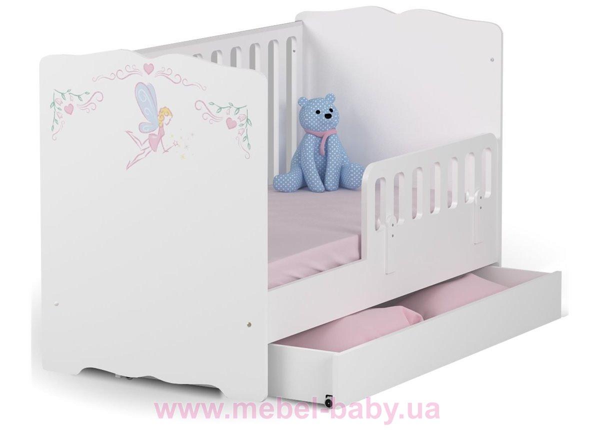 Распродажа_Не качающаяся кроватка для новорожденных Baby Magic Princess 431 Meblik Белый 70х140 с ящиком