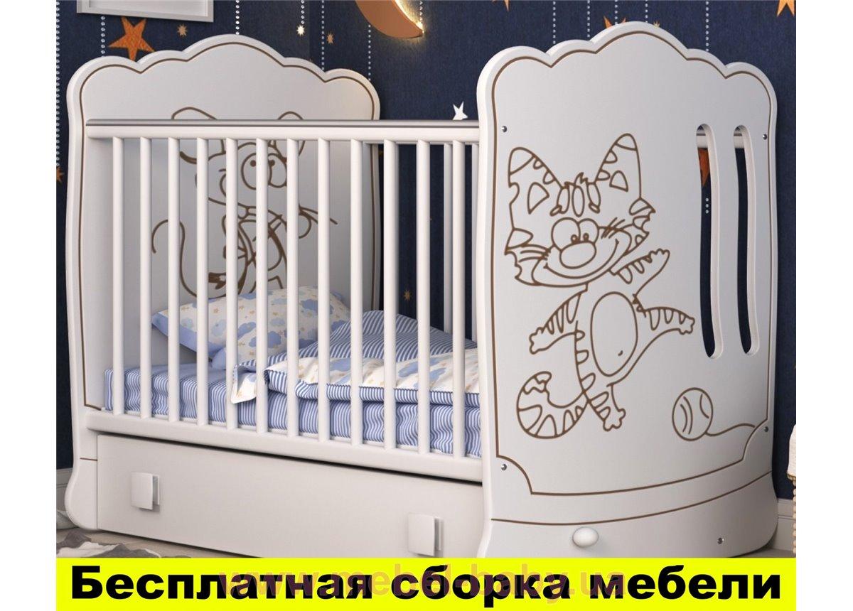 Распродажа Кроватка с маятниковым механизмом поперечного качания Тандем Пиноккио Белый 60х120