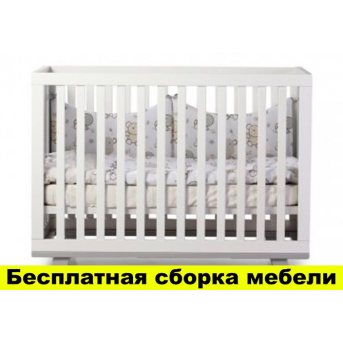"Не качающаяся кроватка ""Соня ЛД1"" (Манхэттен) без колес, на ножках Верес 60х120 Бело-серый"
