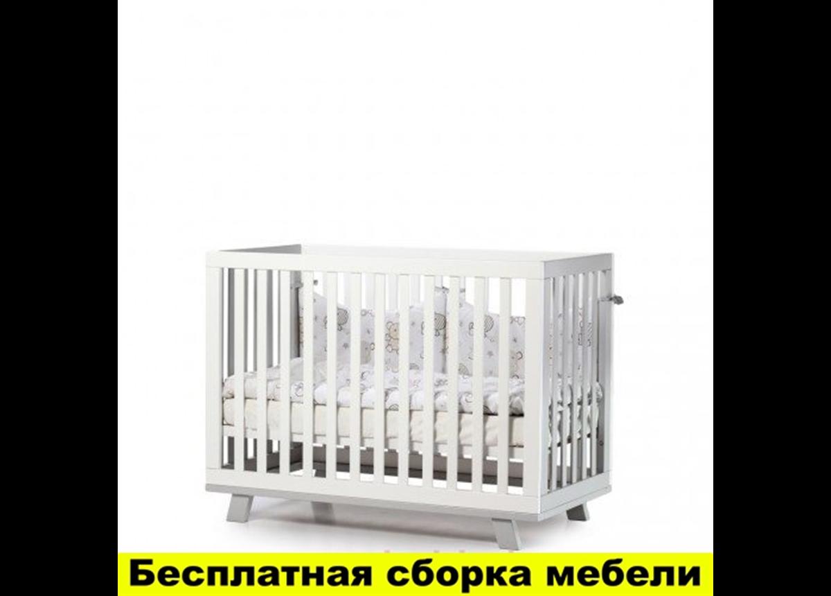 "Кроватка с маятниковым механизмом ""Соня ЛД1"" (Манхэттен) Верес 60х120 Бело-серый"