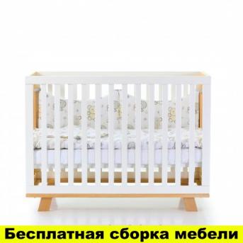 """Кроватка с маятниковым механизмом """"Соня ЛД1"""" (Манхэттен) Верес 60х120 Бело-буковый"""