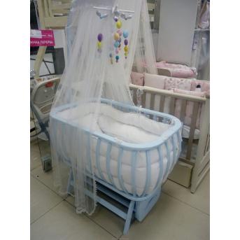 Распродажа Круглая кроватка Нова Mamma голубой