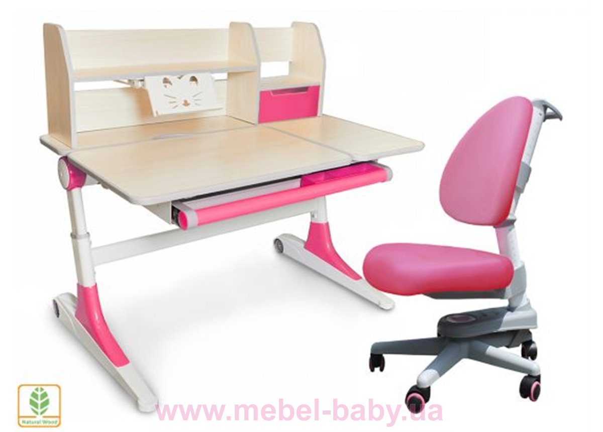 Комплект Evo-kids кресло Ergotech KP+парта Ontario WP с полкой 1120 розовый