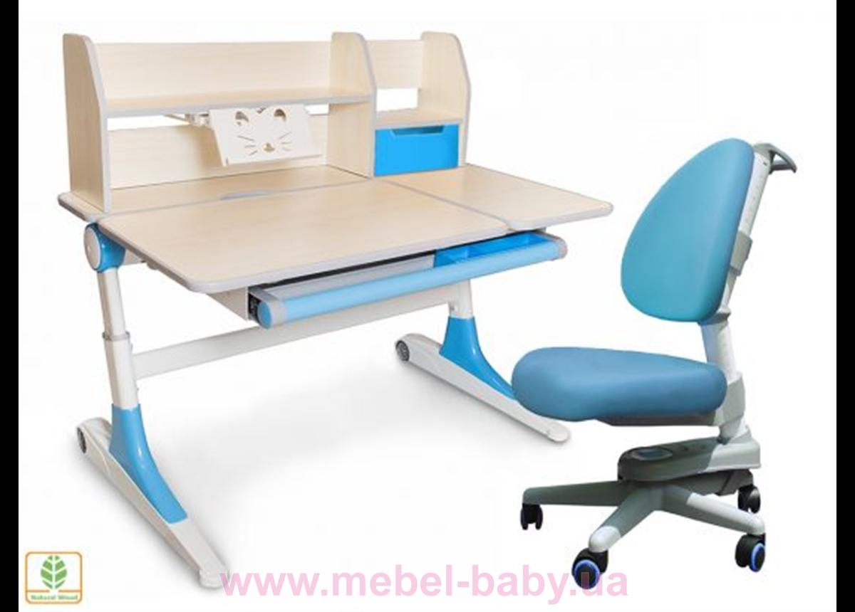 Комплект Evo-kids кресло Ergotech KBL+парта Ontario WB с полкой 1120 голубой