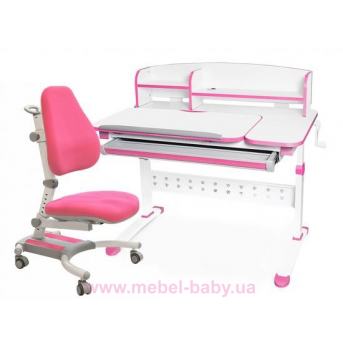Комплект Evo-kids кресло Omega KP+парта Martin WP с полкой 1000 розовый
