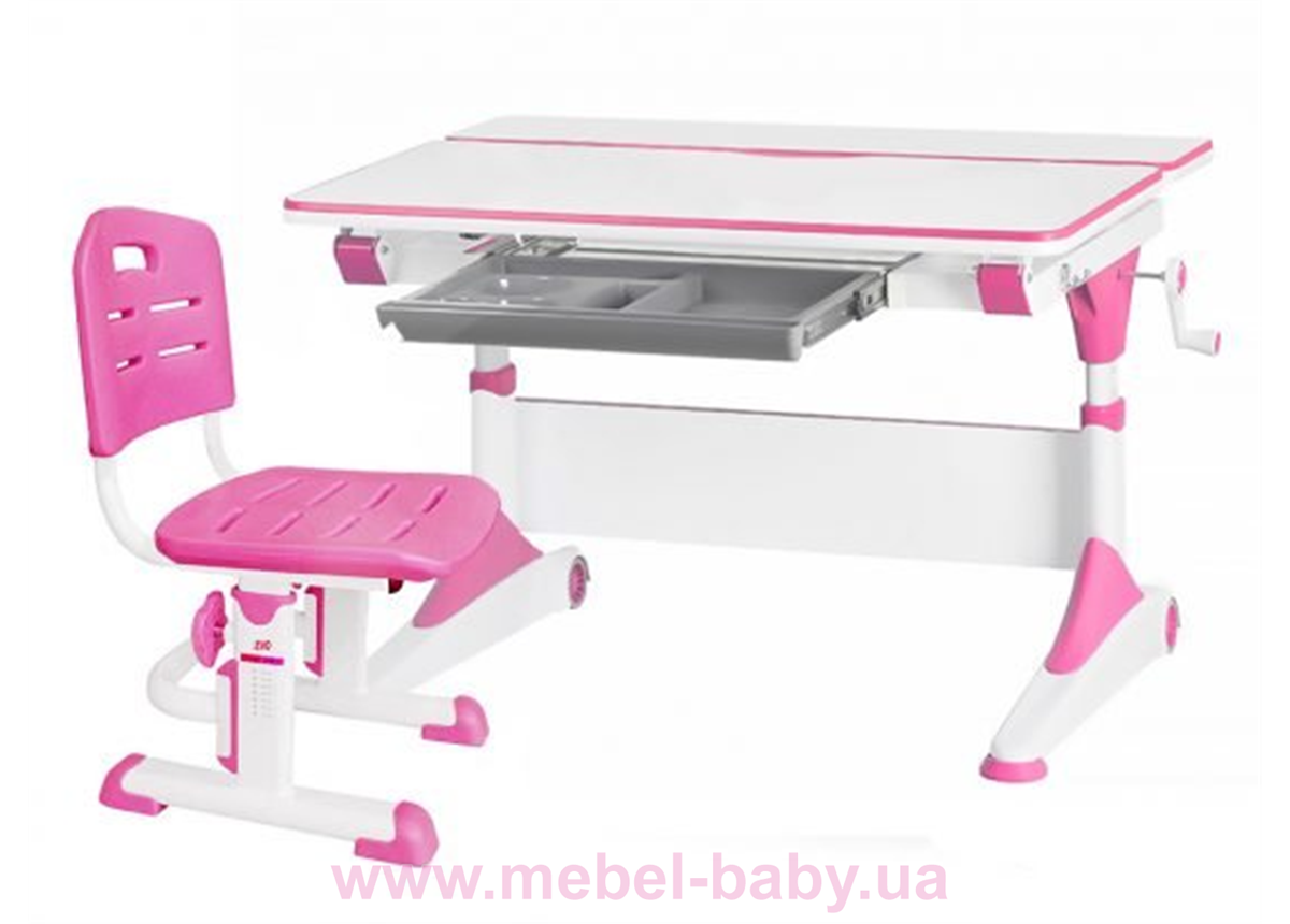 Комплект Evo-Kids стол Alberto WP+стул Evo-301 PN 1000 розовый