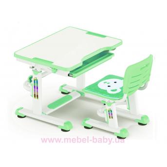 Комплект Evo-kids (стол+стул) BD-08 Z — столешница белая / цвет пластика зеленый