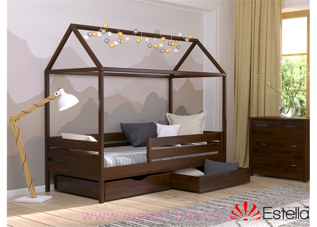 Деревяная кровать Амми 80х190 ТМ Віка темный орех