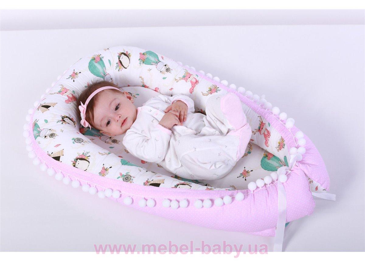 Кокон - гнездышко для новорожденного 90х65 Мирамель розовый