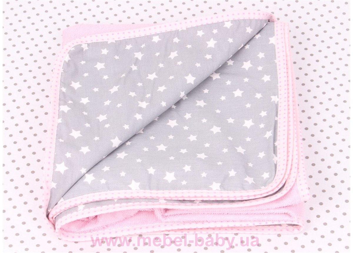 Непромокаемая пеленка Звезды  100х100 Мирамель розовая