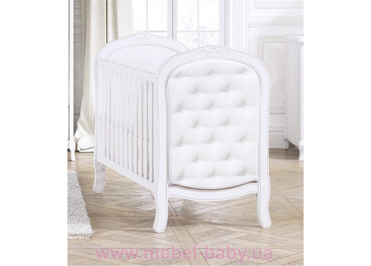 Не качающаяся кроватка для новорожденных Classic Matt White/Leatherette 60х120 Trama Белый