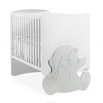 Не качающаяся кроватка для новорожденных Kuma Matt White/Matt Silver 61х120 Trama